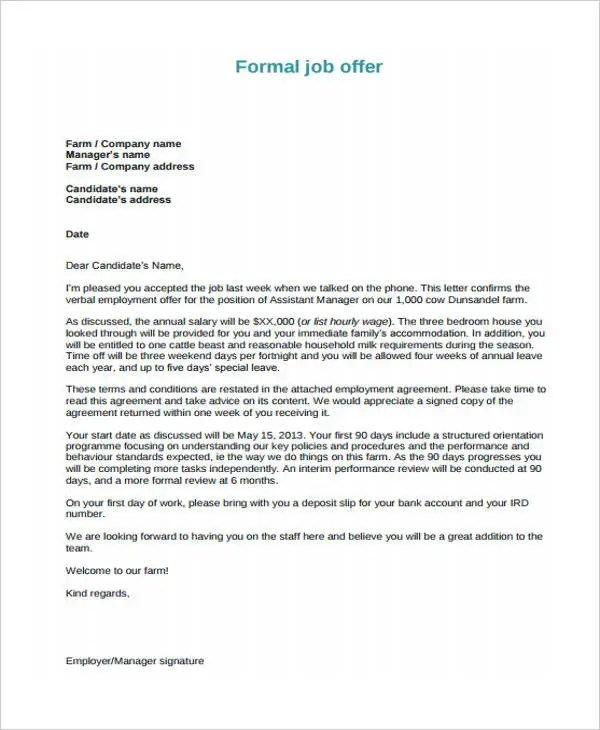 25 Job Offer Letter Example Free & Premium Templates