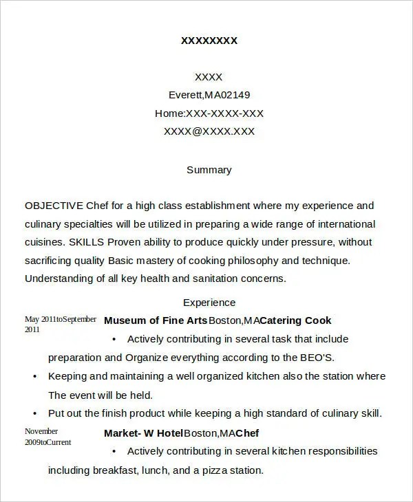 Cook Resumes - 9+ Free Word, PDF Format Download | Free & Premium ...