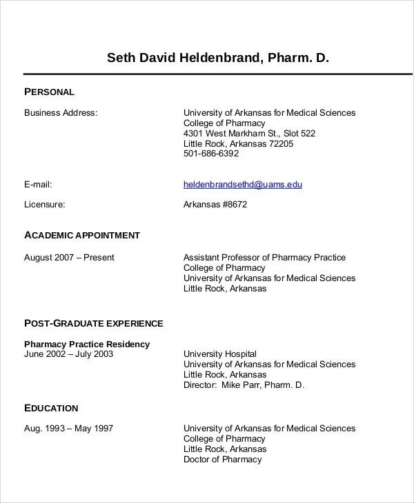 7 Pharmacist Curriculum Vitae Templates Free Word PDF