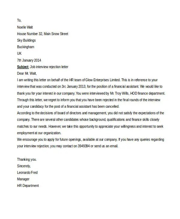 6 Email Rejection Letter Templates Free Word PDF Doc