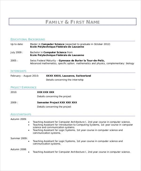 Internship Curriculum Vitae Templates