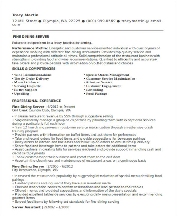 10 Server Resume Templates  PDF DOC  Free  Premium Templates