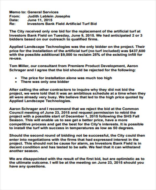 Bid Rejection Letter Sample