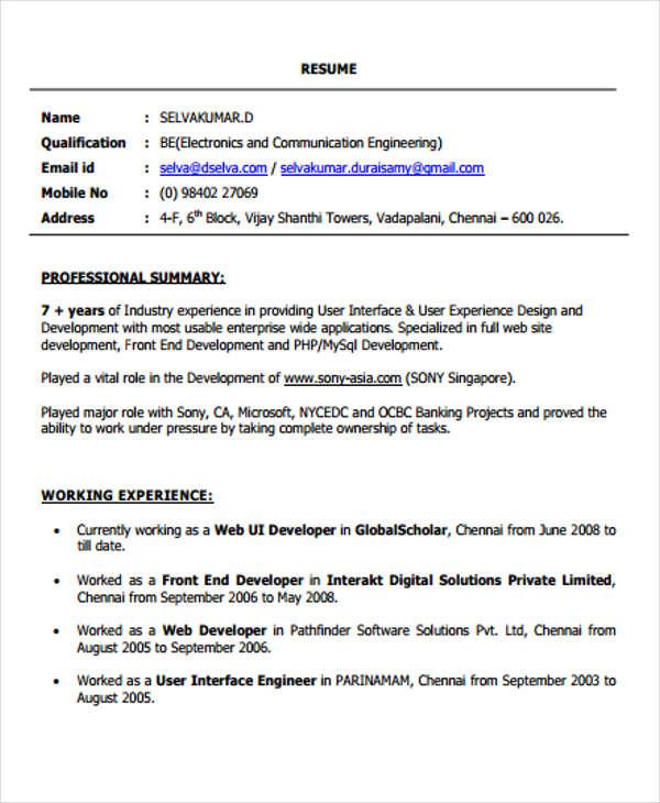 resume template for net developer