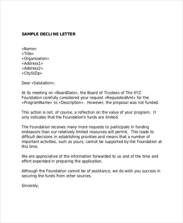 funding request letters