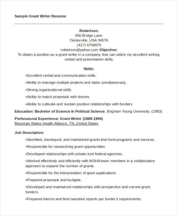 10 Writer Resume Templates PDF DOC Free & Premium
