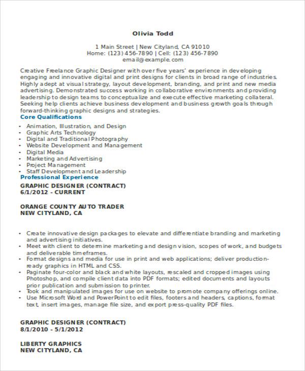 graphic designer resume sample 2017