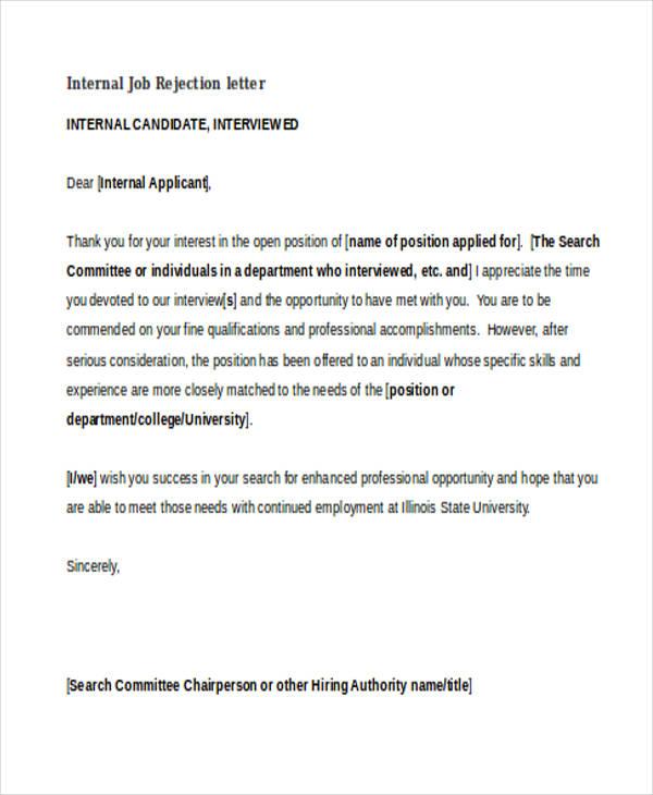 11 Sample Job Rejection Letters Free & Premium Templates