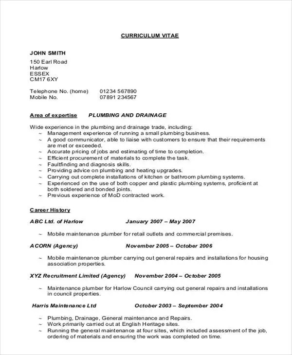 9 Sample Plumber Resume Templates PDF DOC Free