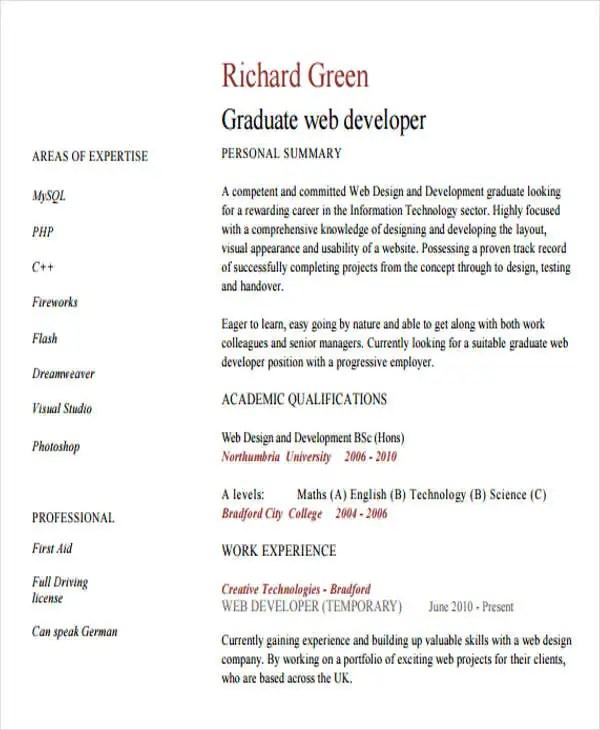 7 Web Developer Resume Templates Free Samples Examples Format  Web Developer Resume Template