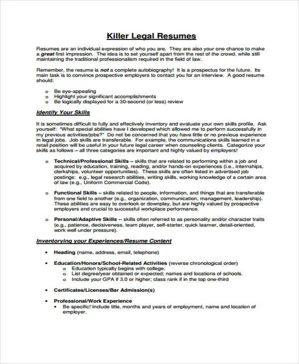law resume example