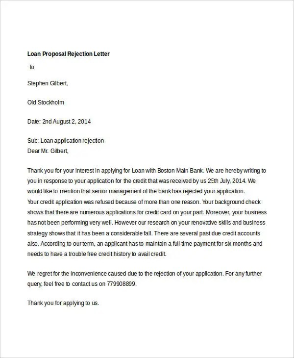 8 Proposal Rejection Letter Templates 7 Free Word PDF