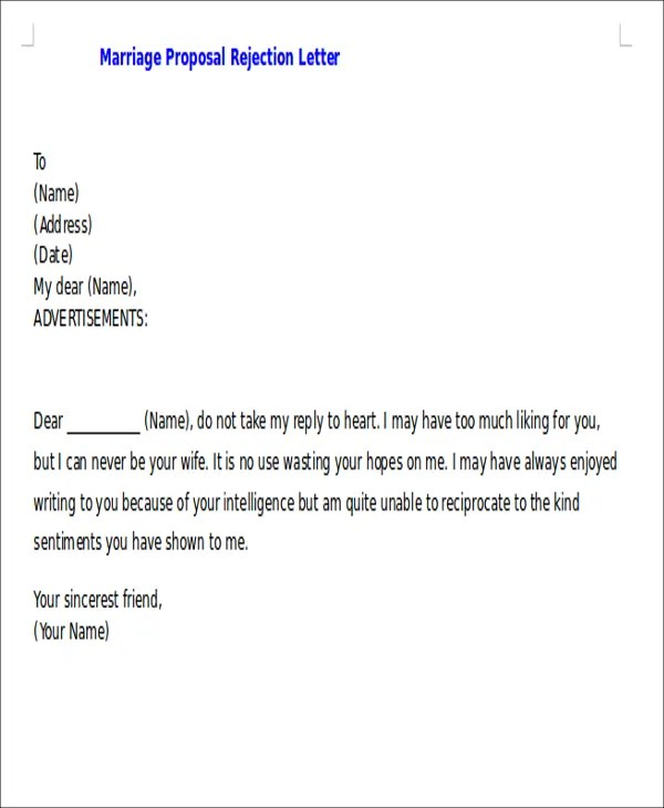 Proposal Rejection Letter 5 Free Sample Example Format