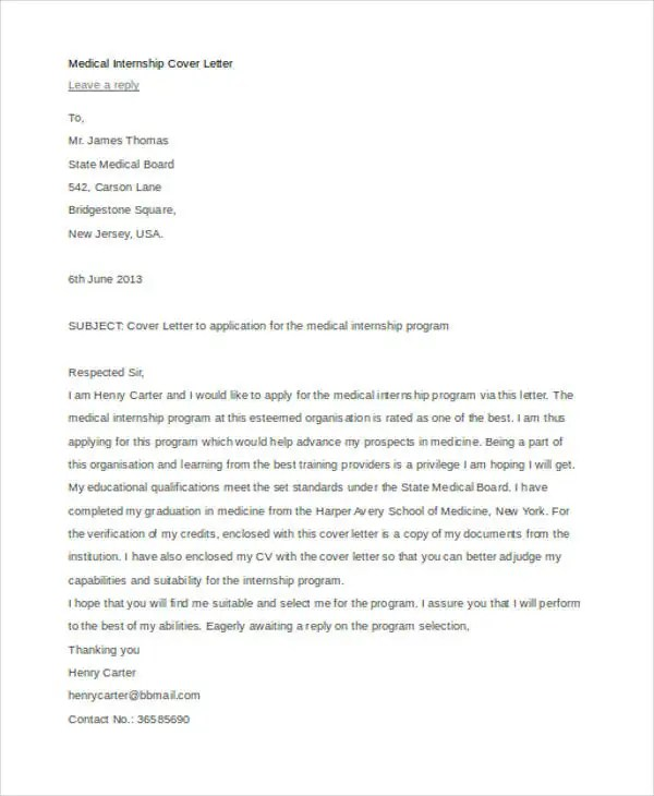 9 Internship Cover Letter Free Sample Example Format