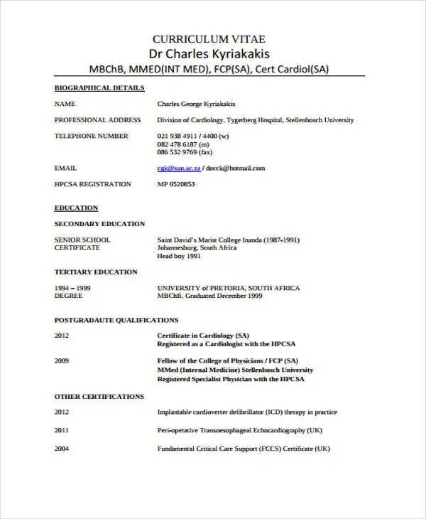 Doctor Curriculum Vitae Template 9 Free Word PDF