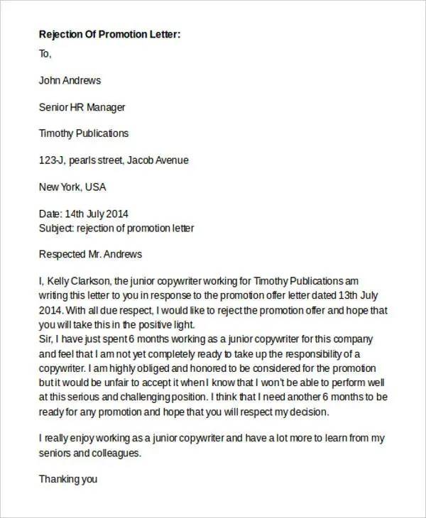 Offer Rejection Letter Templates 8 Free Word PDF