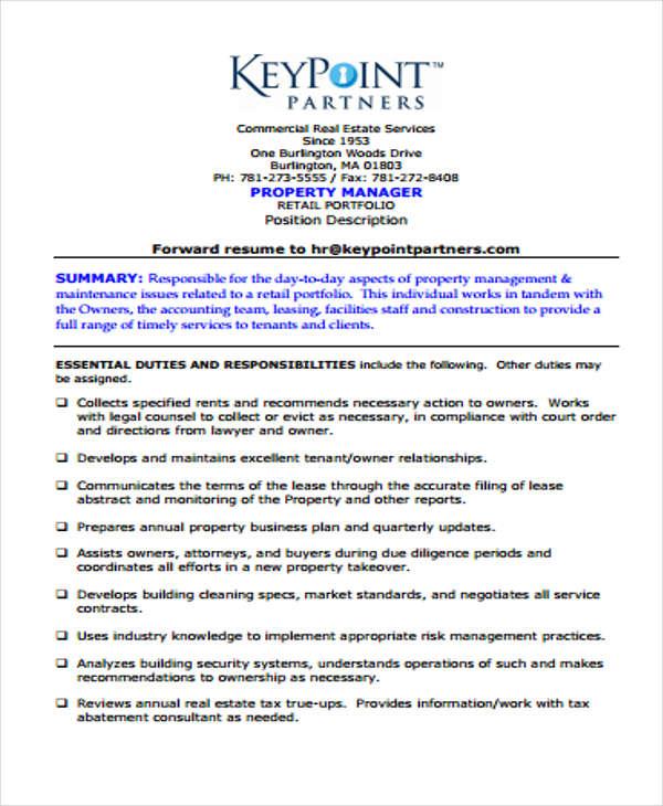 resume for management position