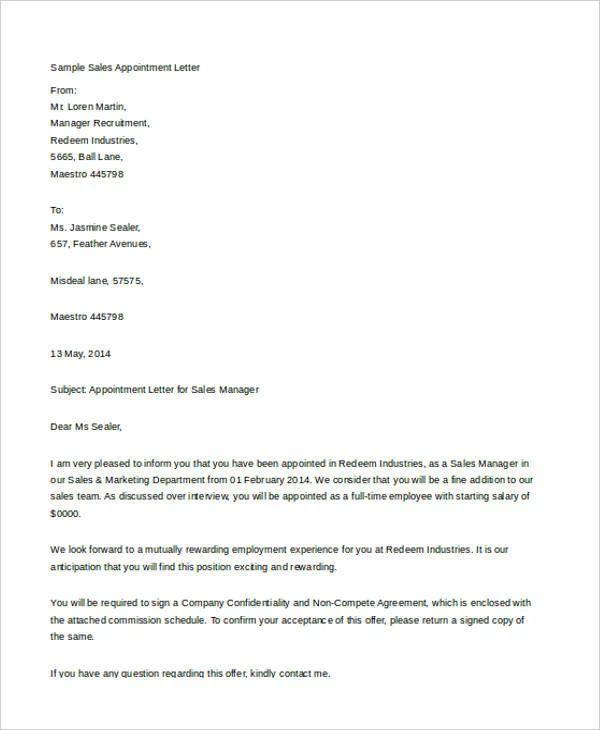 sales representative job offer letter sample