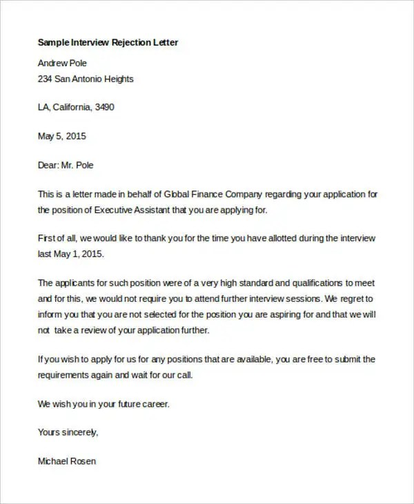 7 Interview Rejection Letters  Free Sample Example