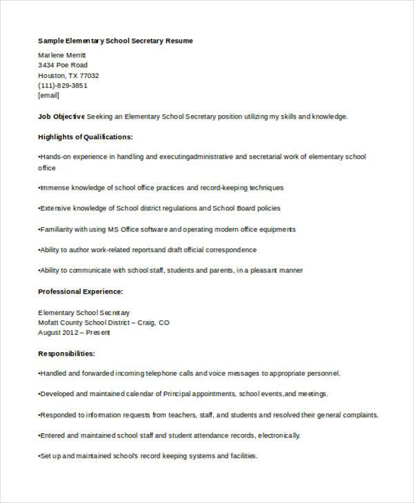 sample elementary school school resume