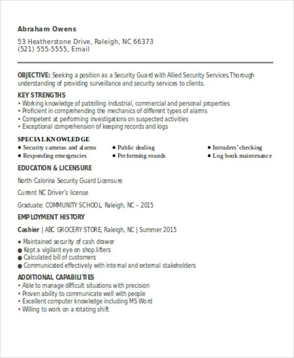Security Guard Resume Doc