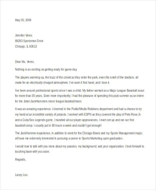sports cover letter example