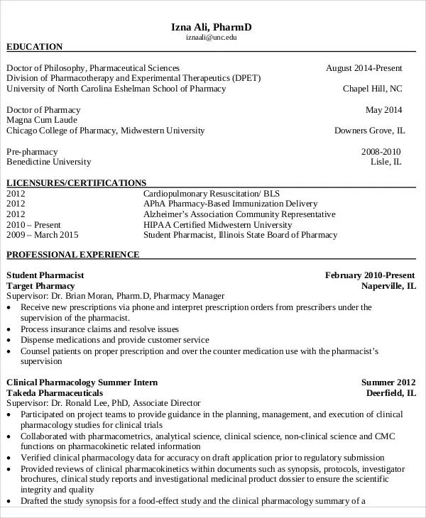 pharmacy student cv example