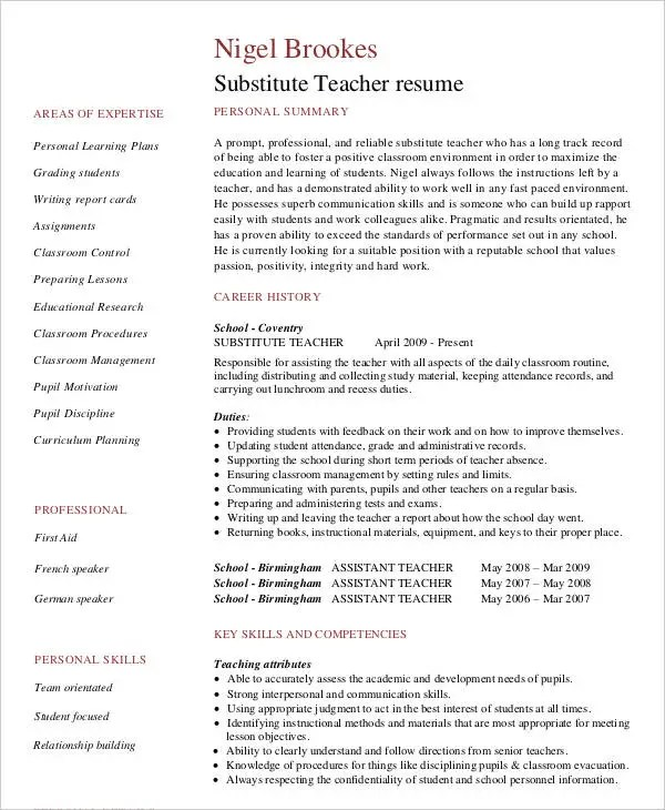 Teacher Resume Sample 32 Free Word PDF Documents