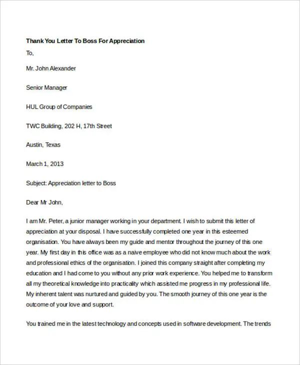 letter of appreciation to boss