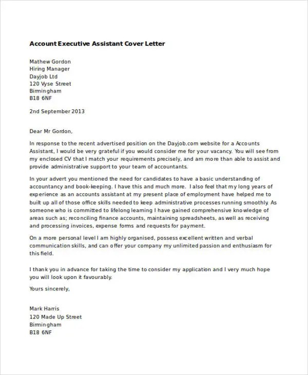 personal assistant application letter - Zohre ...
