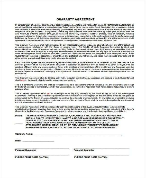 Guaranty Agreement Templates  9 Free Word PDF Format Download  Free  Premium Templates