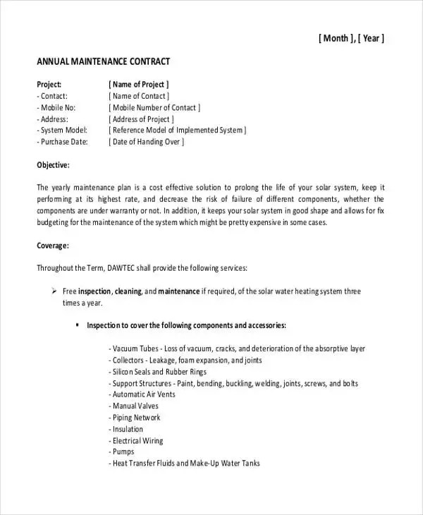 19 Maintenance Contract Templates  Pages Word Docs