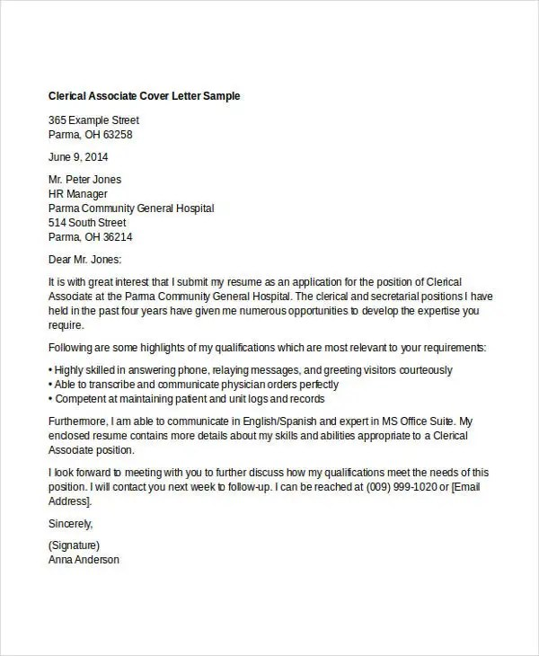 10 Clerical Cover Letter Templates  Free Sample Example Format Download  Free  Premium