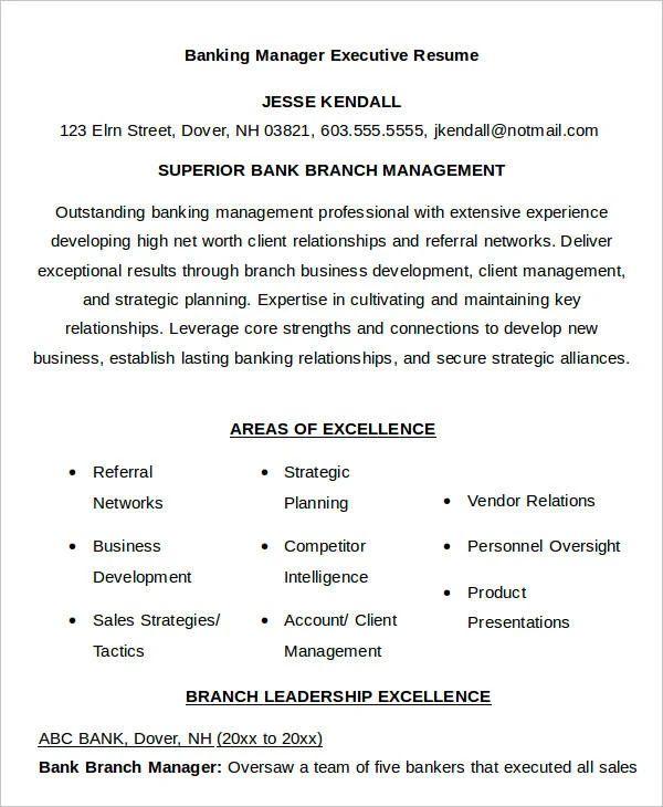 resume banking template