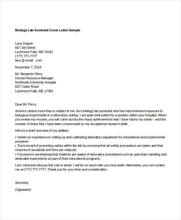 8 Biology Cover Letters  Free Word PDF Format Download  Free  Premium Templates