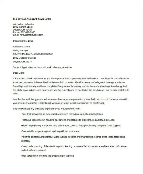 6 Biology Cover Letters  Free Samples Examples Format