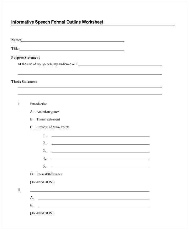 informative speech template