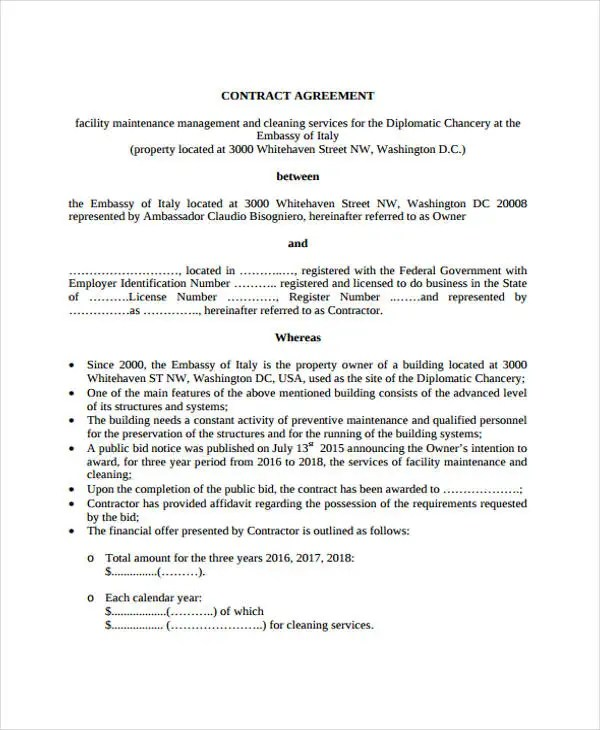 17 Maintenance Contract Templates Pages Word Docs