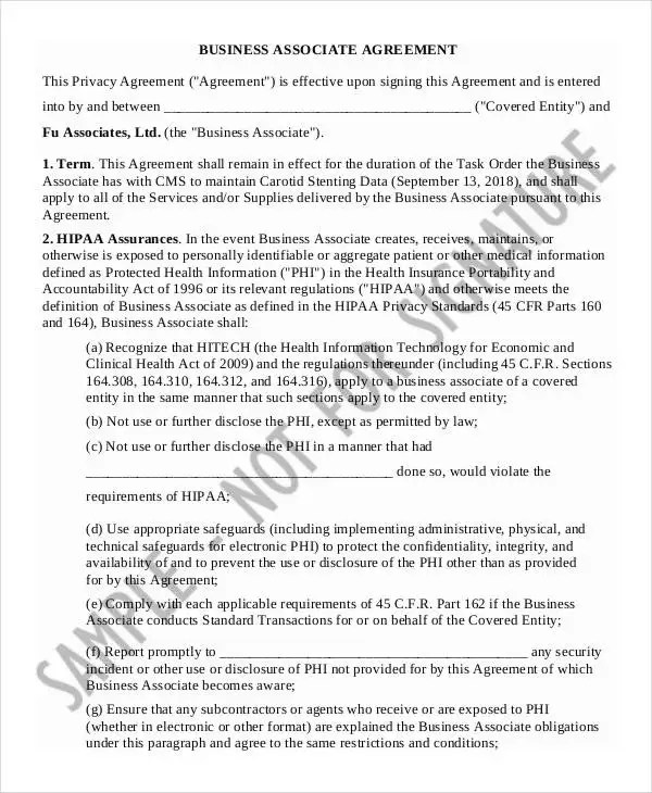 """Parts 160 and 164 (""""the hipaa regulations:""""). 25 Agreement Letter Templates Word Pdf Free Premium Templates"""