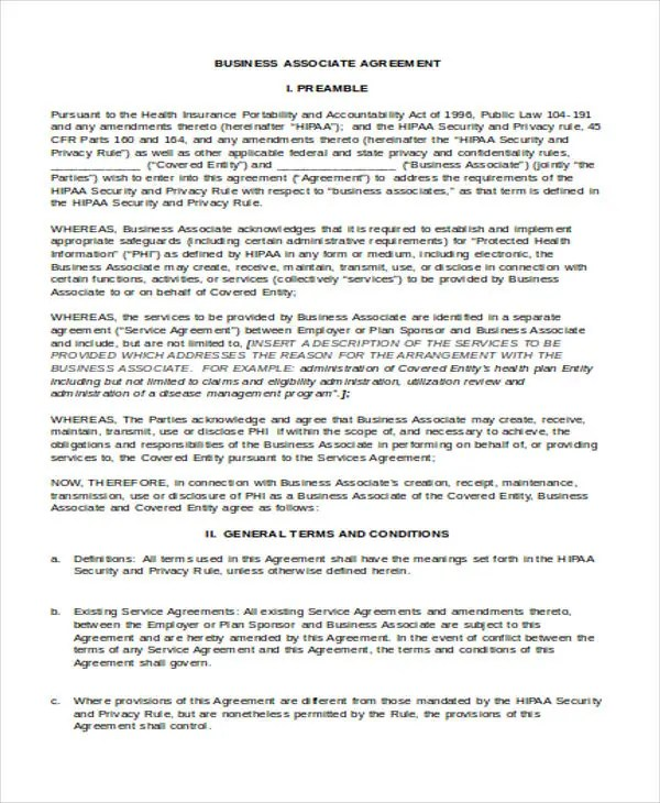 Business Associate Agreement Template 2017 Cycling