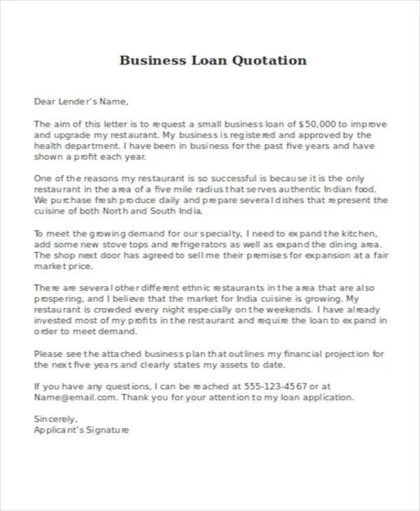 Format Proposal Loan Sample