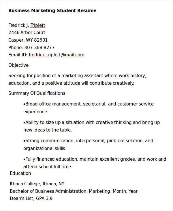 student resume template doc