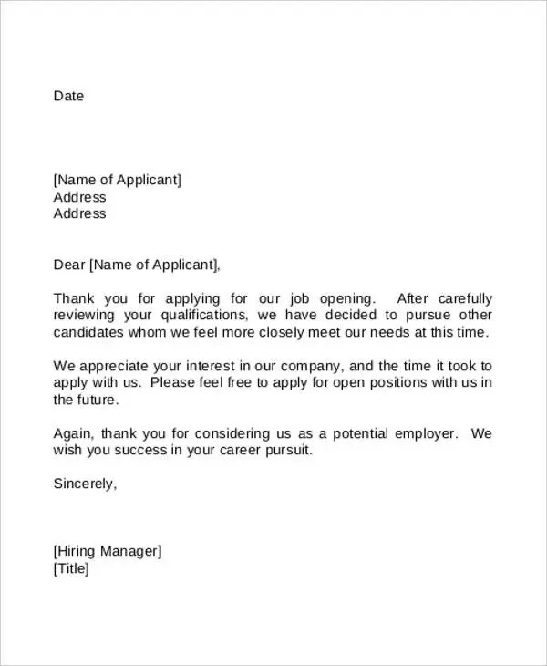 Employment Rejection Letters 8 Free Word PDF Format