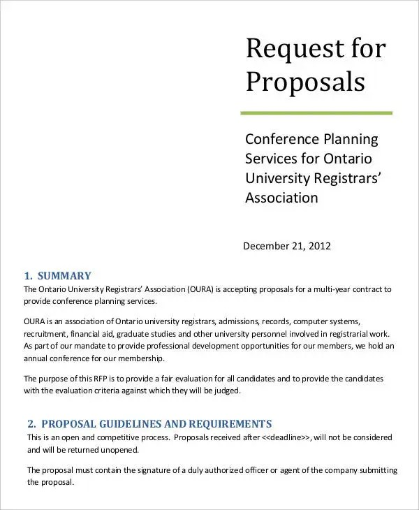 11 Request For Proposal Templates Free Sample Example