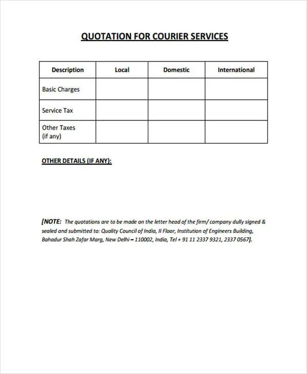 Formal Quotation Template 13 Free Word PDF Format