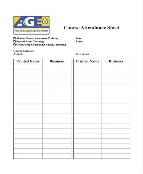 sign in sheet template free