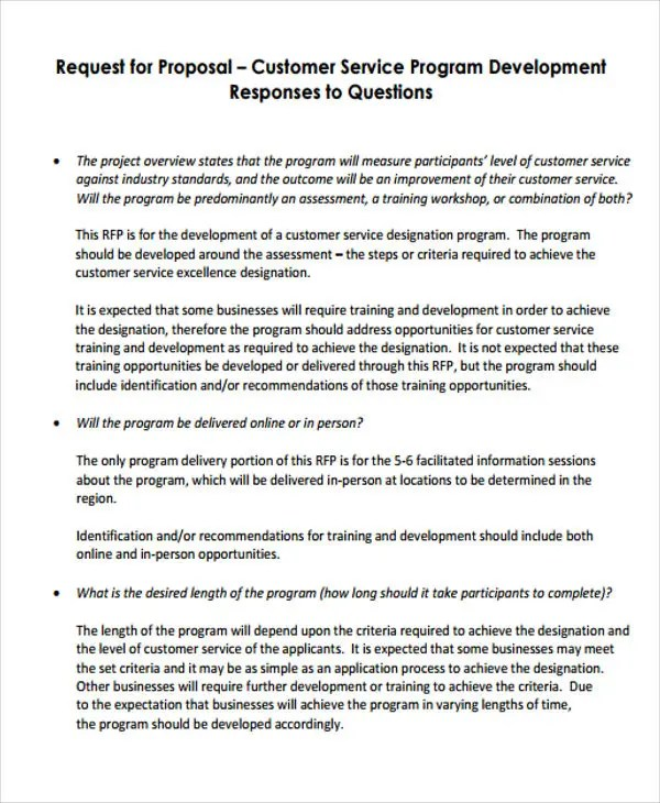 7 Customer Service Proposal Templates Free Sample