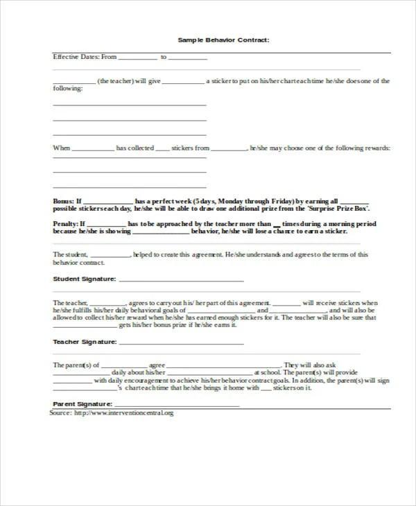 Behavior Contract Pdf  Free Download