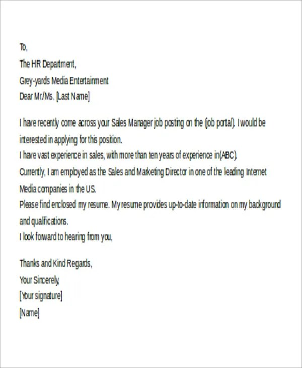 11+ Email Cover Letter Templates  Sample, Example  Free