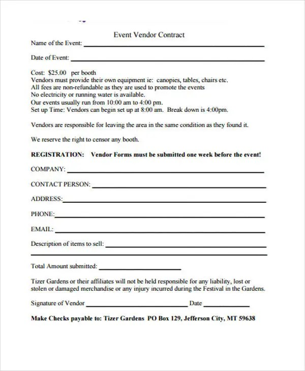 11 Event Contract Templates Free Sample Example Format